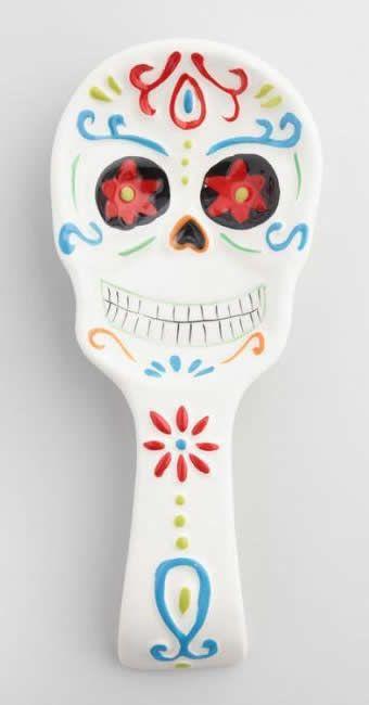 Dia De Los Muertos Day Of The Dead Ceramic Skull Spoon Rest Affiliate Sugar Skull Decor Ceramic Spoon Rest Pottery Spoon Rest