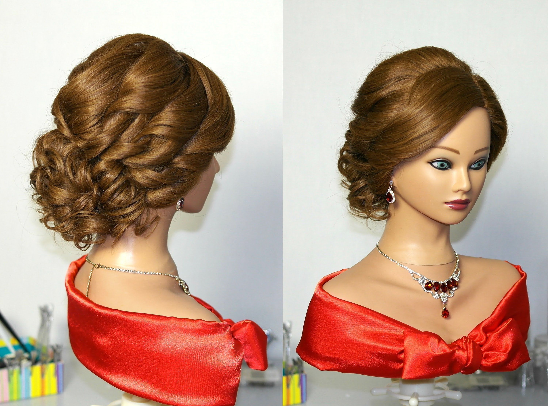 bridal curly updo hairstyles for medium hair. Прическа на свадьбу