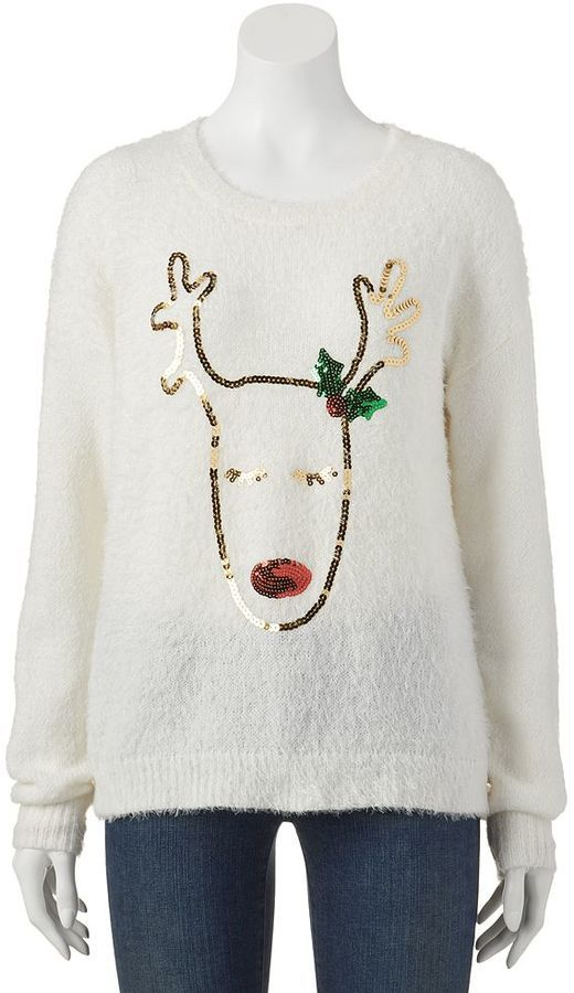 It's our time sequin reindeer ugly christmas sweater - juniors ...