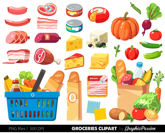 Grocery Clipart Shopping Clipart Food Clipart Dinner Clipart Cheese Clipart Salami Clipart Grocery S Shopping Clipart Clip Art Food Clipart