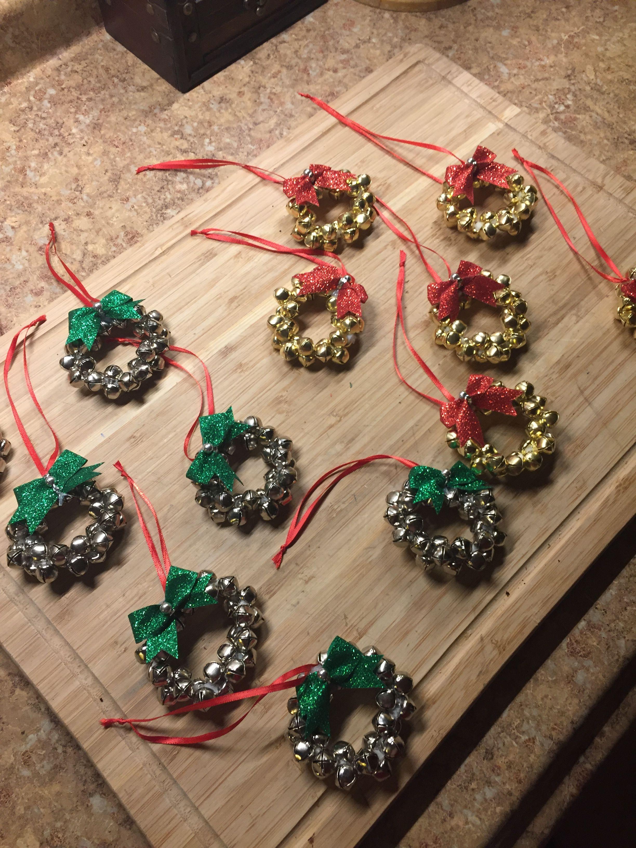 DIY Dollar Tree jingle bell wreath ornaments. Ornament