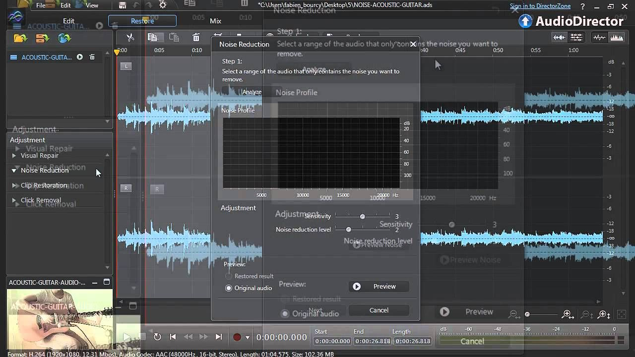 AudioDirector 4 Improve videos by removing background