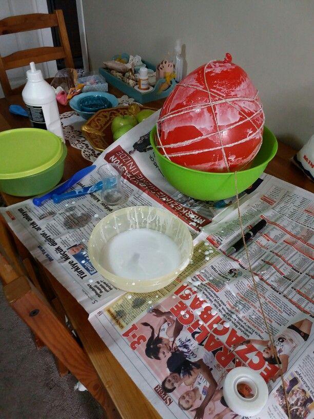 Beyaz Tutkal Balon Ve Ip Kullanarak Lamba Yapimi Hand Made