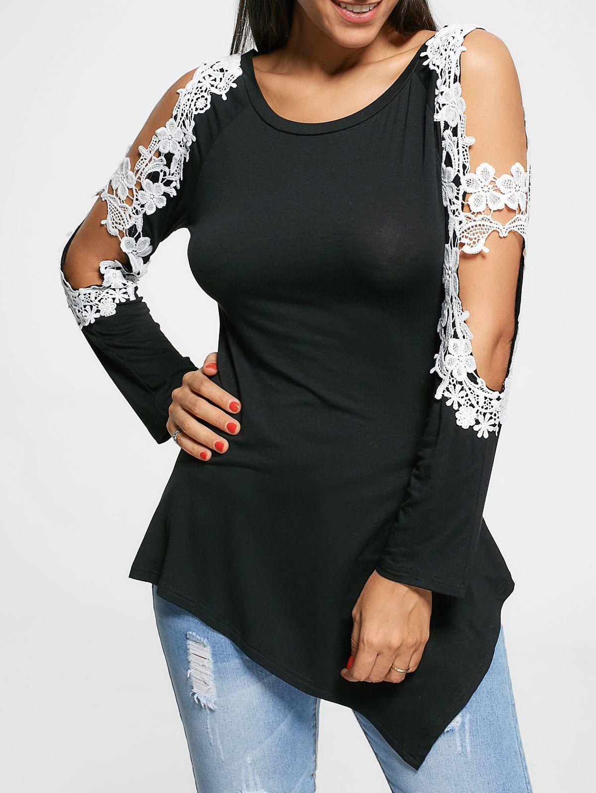 f744b2077f58a0 Long Sleeve Floral Applique Cut Out Top - Black - 2xl
