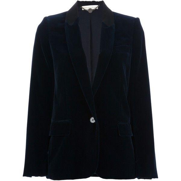STELLA MCCARTNEY single button corduroy blazer ($865) ❤ liked on Polyvore featuring outerwear, jackets, blazers, blue, one button jacket, blue jackets, stella mccartney jacket, long sleeve jacket and long sleeve blazer