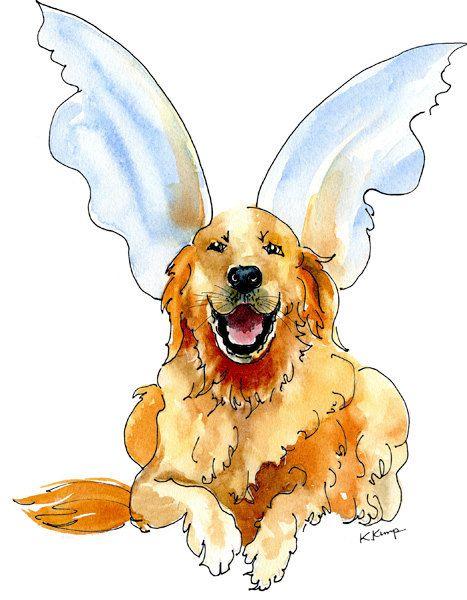 Golden Retriever Pet Portrait Christmas Gift Idea Pen Ink