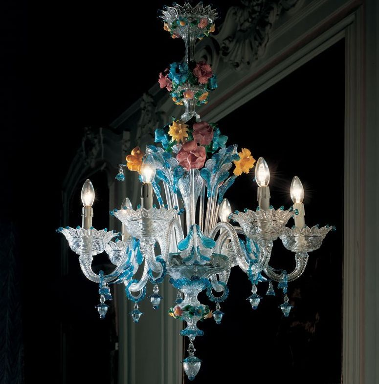 A Wonderful De Majo Murano Glass Chandelier With Pretty Multi Coloured Flowers