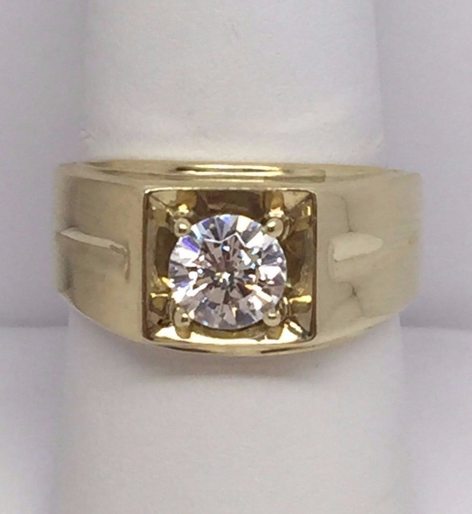 10k Yellow Gold Dq Cz Qvc Diamonique Mens Solitaire Ring Size 8 Men Diamond Ring Ring Size Solitaire Ring