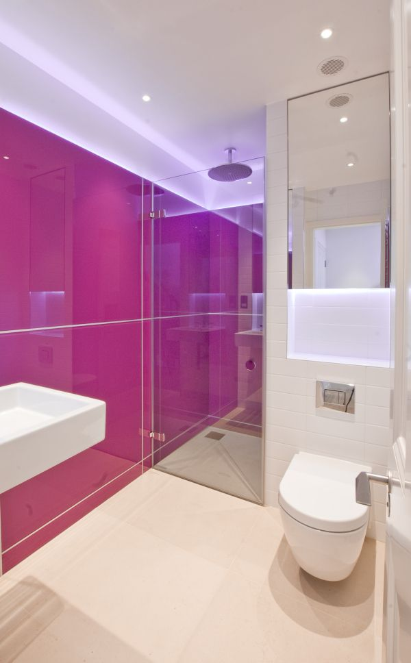 Tigg Coll Architects, Pink bathroom! - Westbourne Grove Apartment