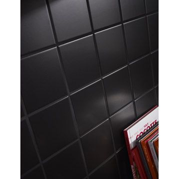 carrelage mural en fa ence astuce noir noir n 0 10x10cm. Black Bedroom Furniture Sets. Home Design Ideas
