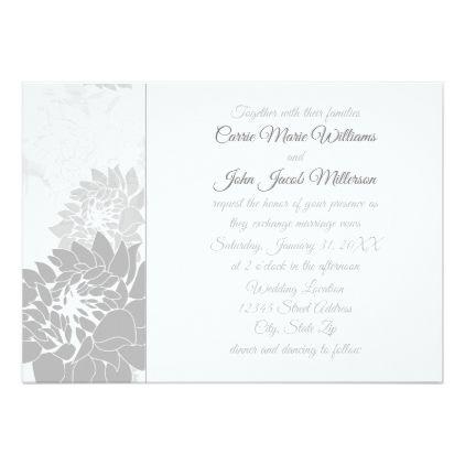 Gray Elegant Floral - Wedding Invitation - formal speacial diy - formal invitation style