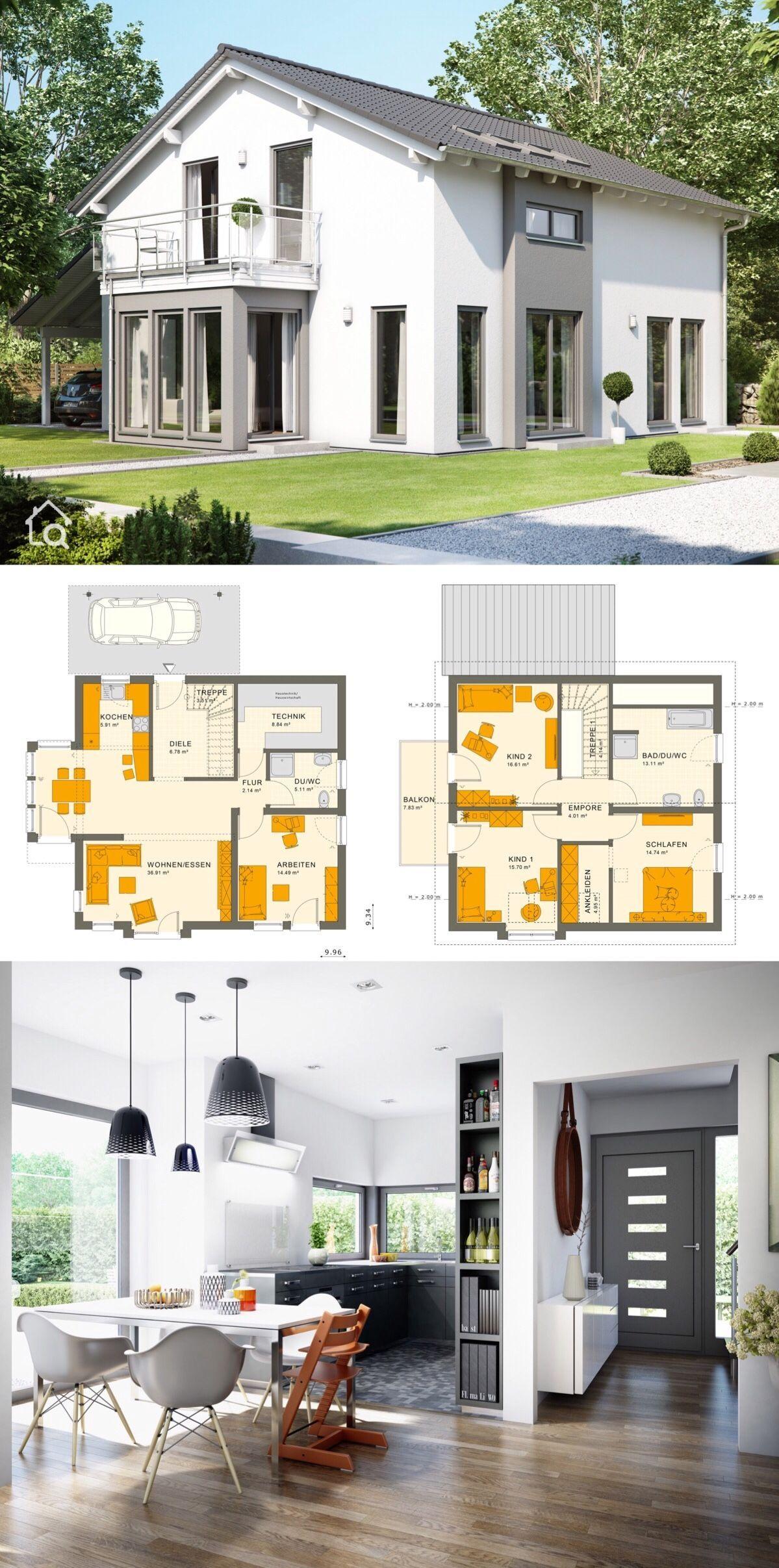 Modernes Haus mit Satteldach & Carport, Grundriss 5 Zimmer