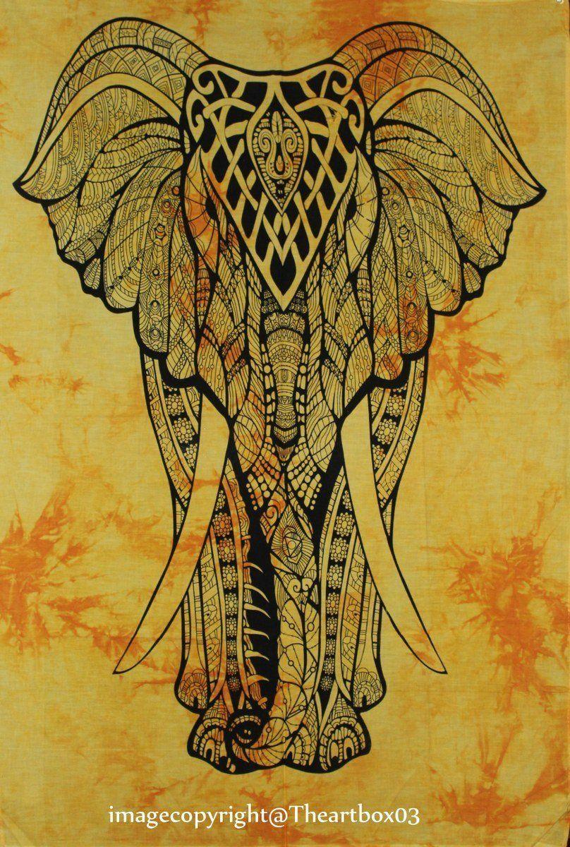 The Art Box Indian Cotton Elephant Mandala Poster Flag Tapestry ...