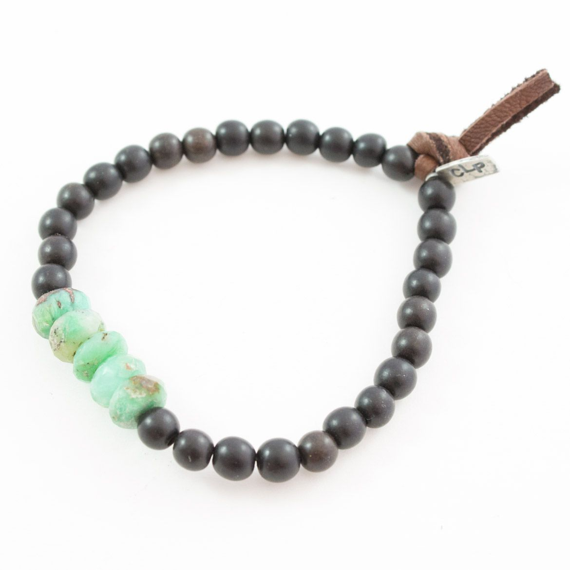 Wood Bead with Stone Accent Bracelet