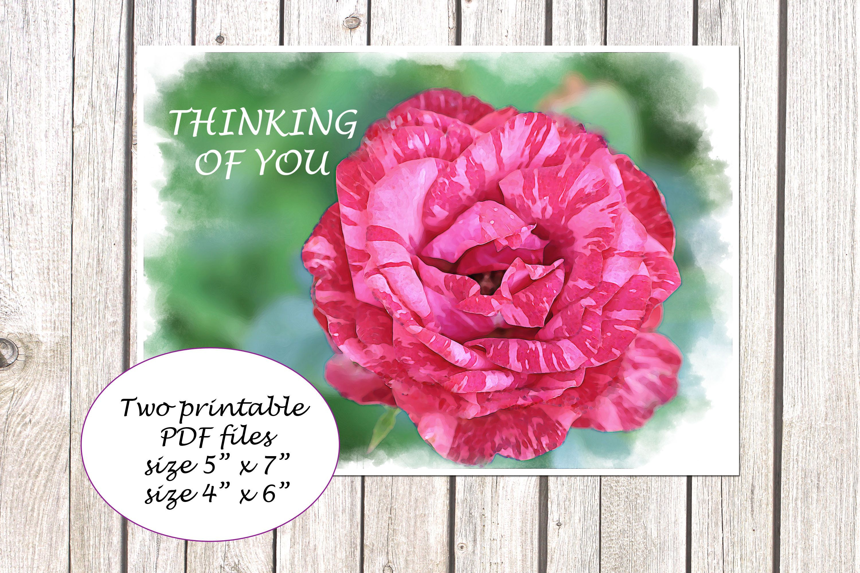 Printable Card Folded 5x7 and 4x6 Digital Download Thinking of You Greeting Card