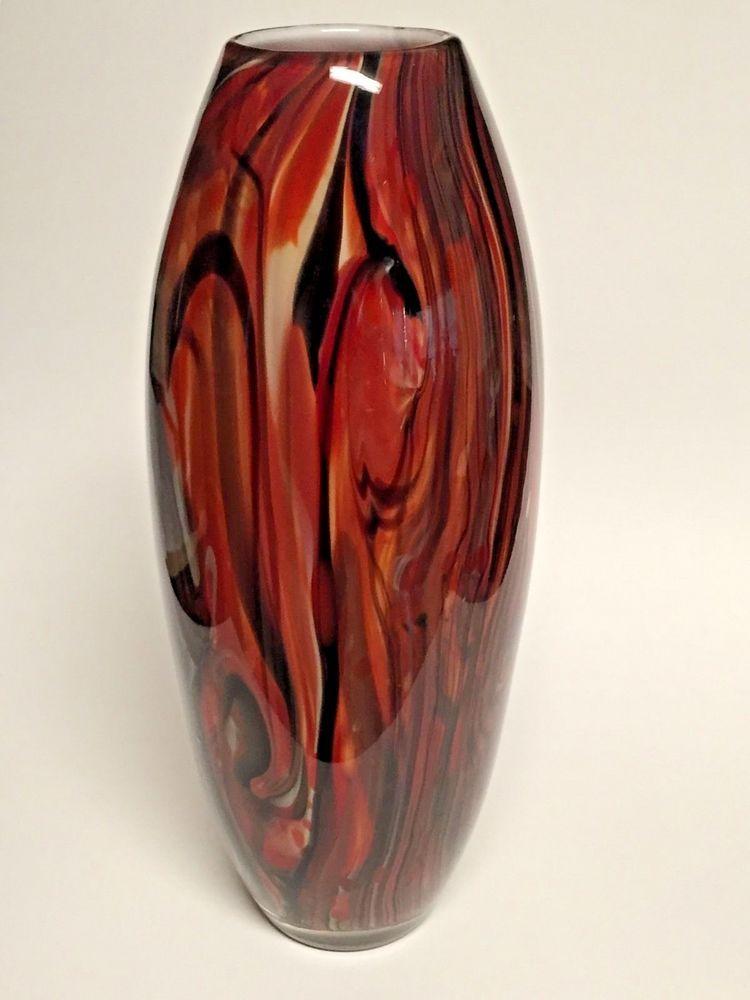 Tall hand blown art glass vase reds orange yellow black swirl cased white