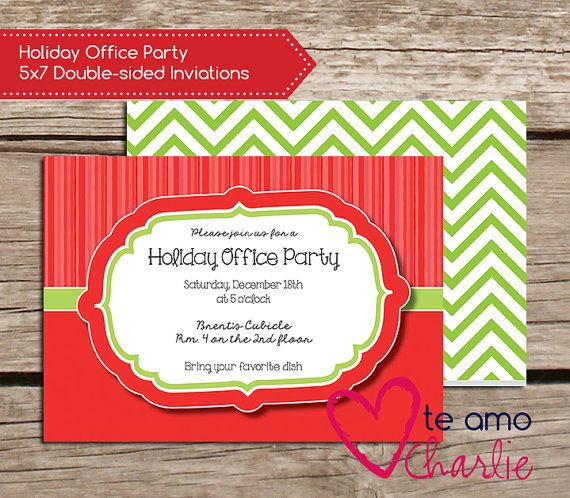 Holiday Office Party Invitations Red and Green Christmas Party – Office Party Invitations