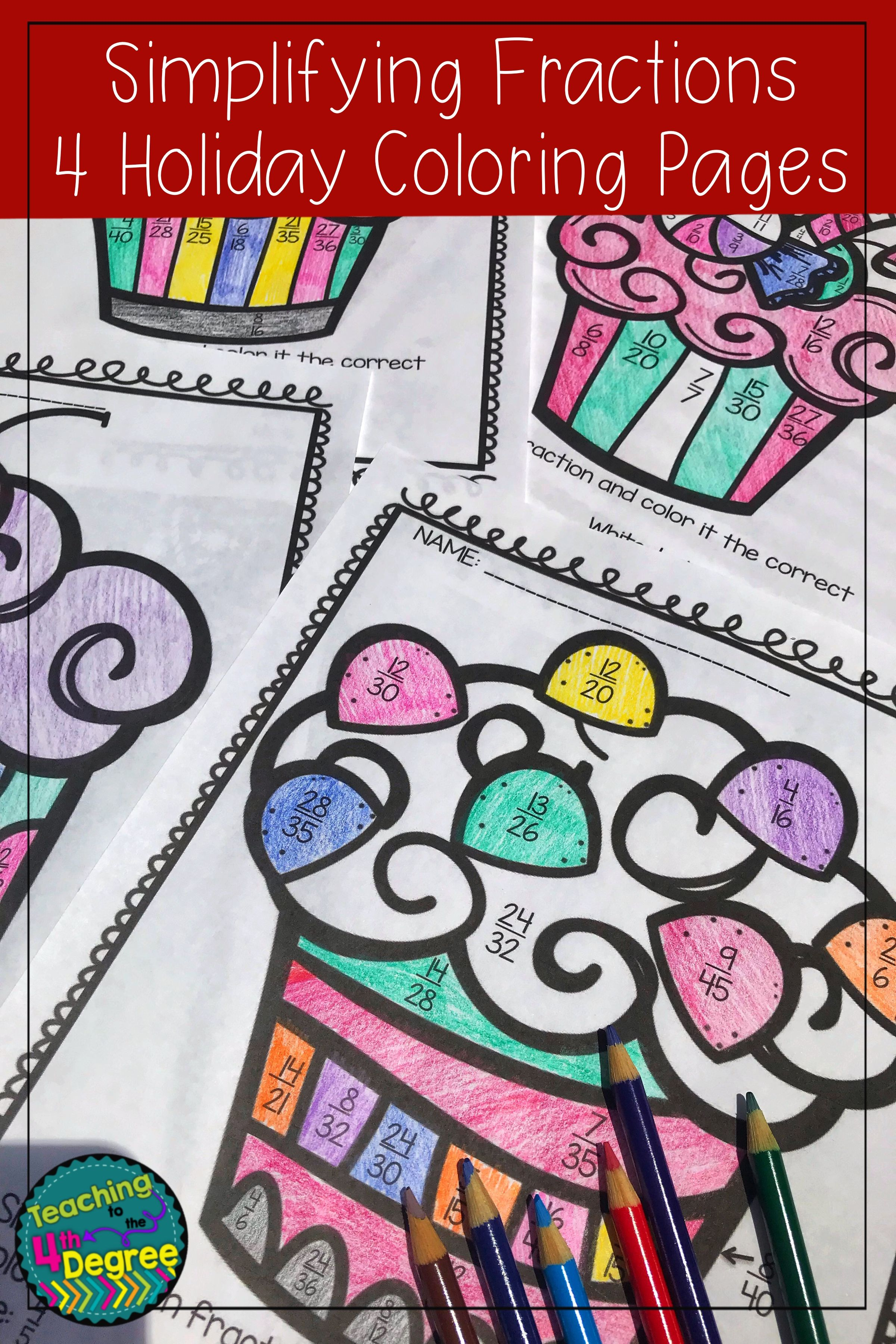 Simplifying Fractions Holiday Coloring Pages