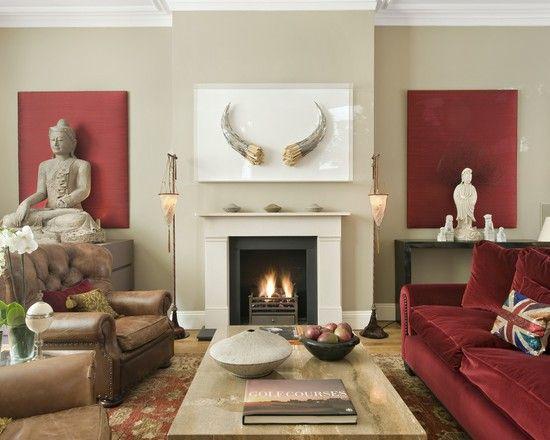 Buddha Decor Transitional Living RoomsModern
