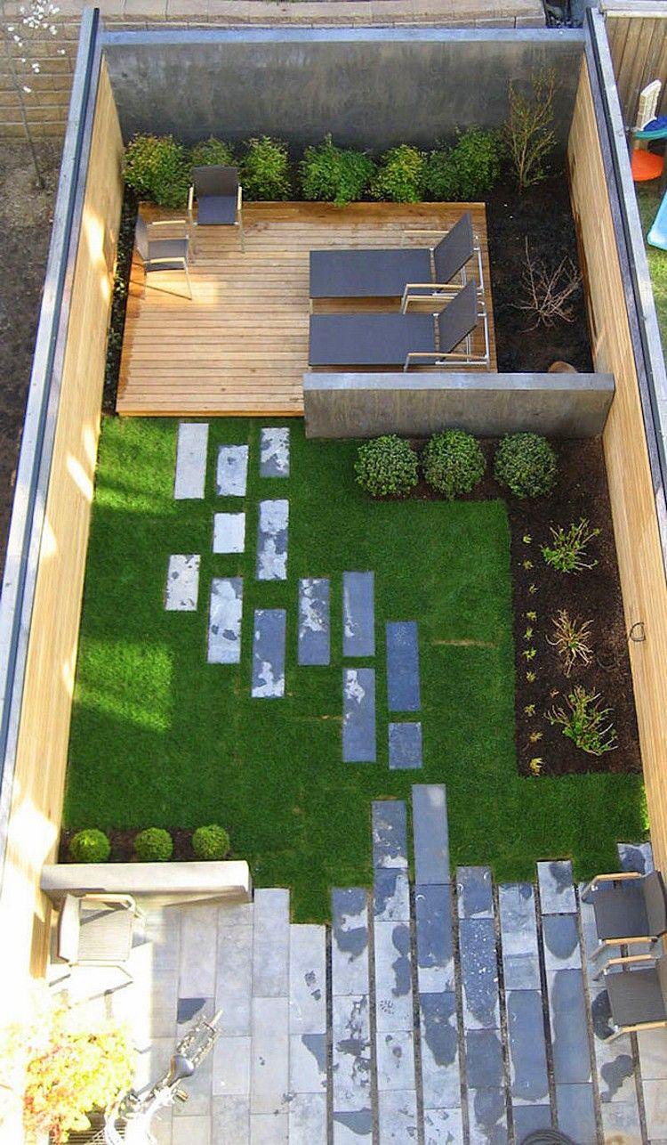 Gartenplanung Ideen Vogelperspektive Hinterhof Gartenlounge Rasenfläche  Pflastersteine Patio