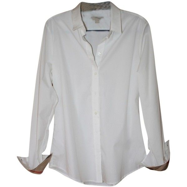 Pre-owned Burberry Brit White Basic Blouse Button Down Shirt (1.590 NOK) ❤ liked on Polyvore featuring tops, blouses, long sleeves, shirts, white, white shirt, long-sleeve shirt, burberry shirts, long sleeve tops and white button down shirt