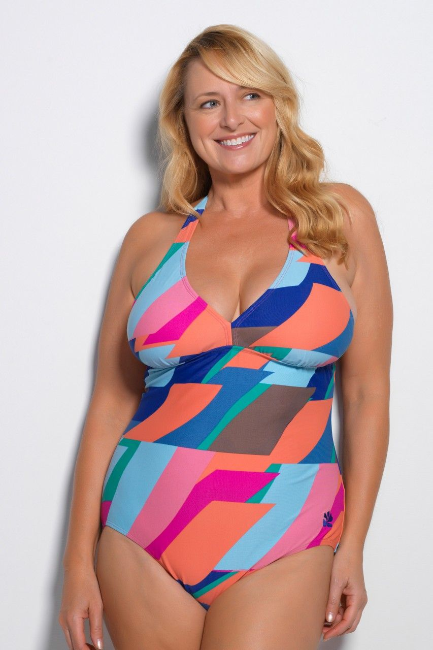 SunStripe Plus Size V-Neck One Piece Swimsuit | Curves are ...