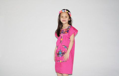 Kid's Vintage 1970s Girls Pink Embroidered Mexican Floral Rainbow Lace Dress