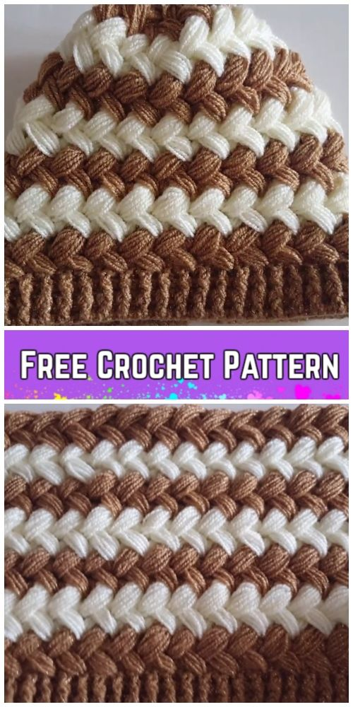 Crochet Cross Bean Puff Beanie Hat Free Crochet Pattern - Video ...