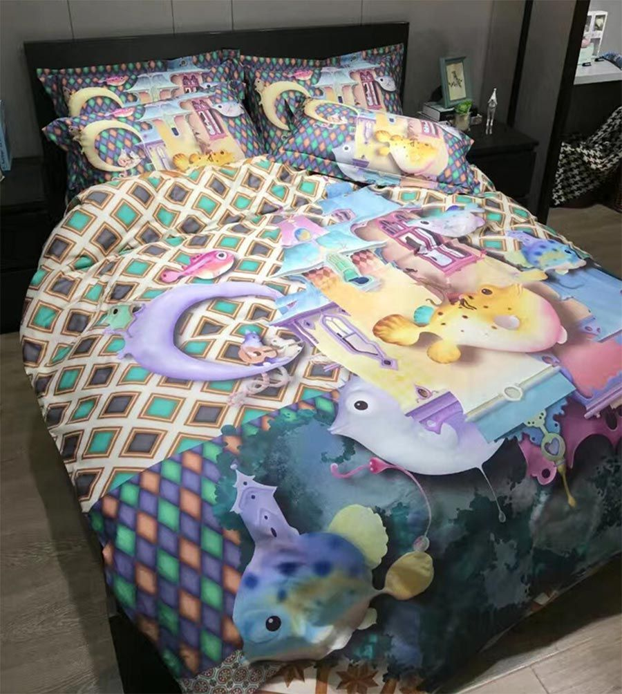 Colorful Character Fish Bedding Set Teenage Child,cotton Full Queen King  Cartoon Home Textile Flat