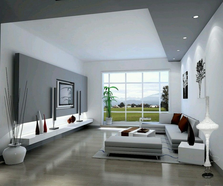 Interior. Stylish Modern Interior Design Ideas. Beautiful Modern Living Room Design Ideas Featuring Soft Brown Rollable Laminated Flooring And Soft Gray Covering Sectional Sofa With White Square Low Living Room Table Plus White Soft Gray Combined Colour Theme For Modern Wall Unit Together With White Unique Floor Lamp Also Pure White Wall Living Room Painted. Modern Interior Designs