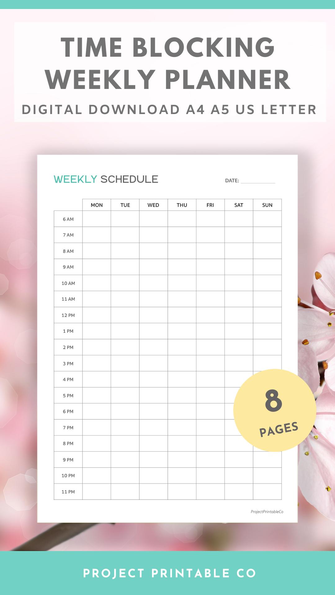 Time Blocking Weekly Planner Printable Timetable Weekly