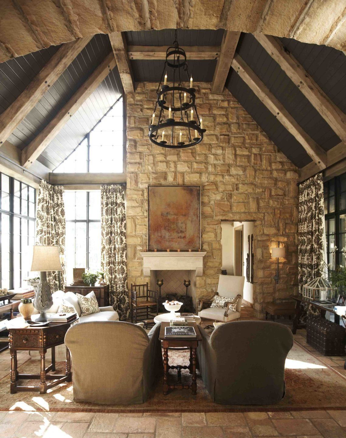 Luxurious Living Room In A Tudor Style Home House Traditional Family Rooms Home #tudor #style #living #room