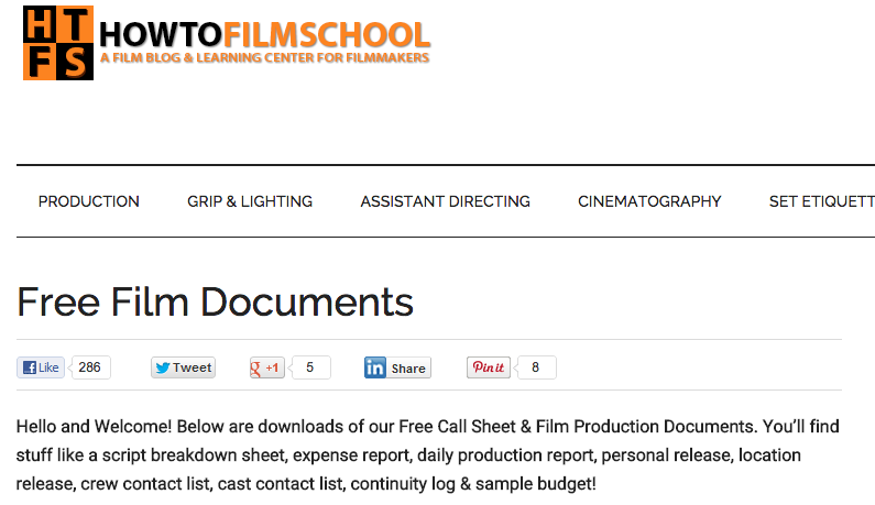 PreProduction Document Templates  Film Stuff    Pre
