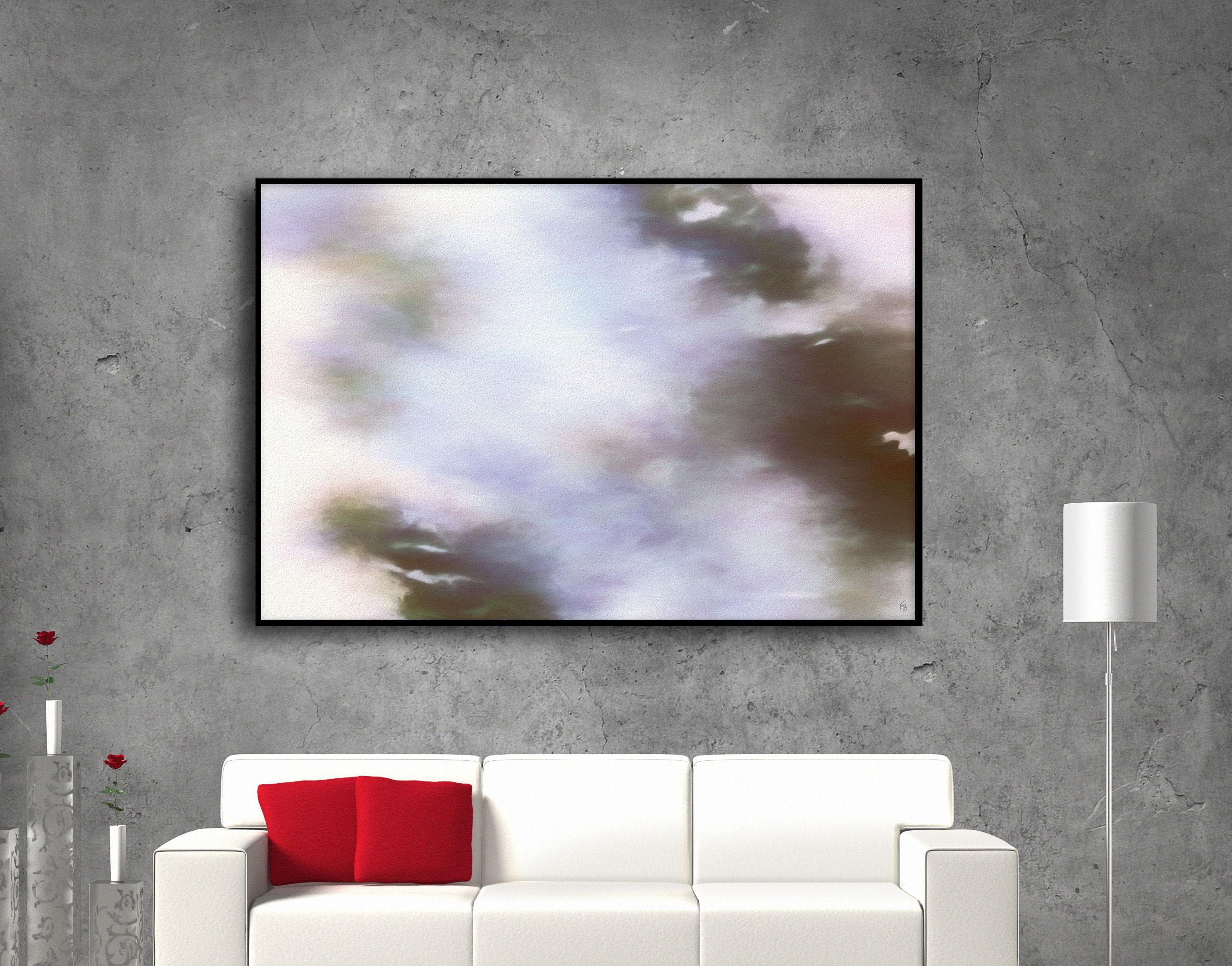 Nuanced grey abstract canvas art decor by fraborart at aborart