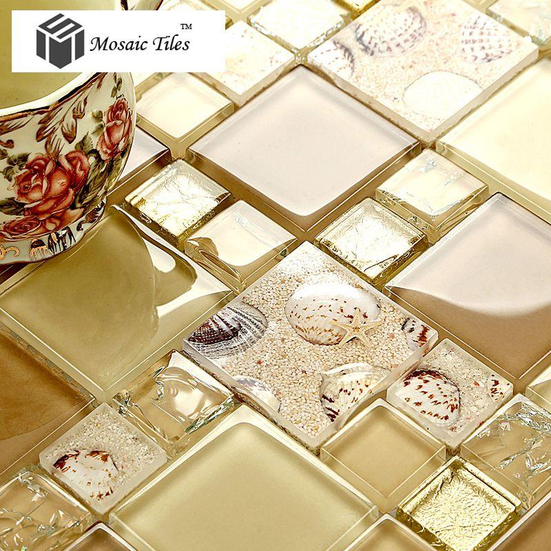 TST Glass Conch Tiles Golden Glass Tile For Wall Romantic Modern ...