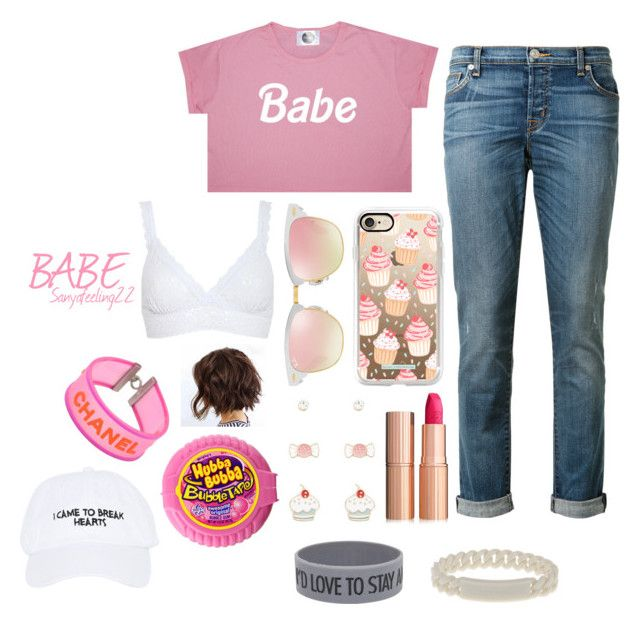 """""""BABE👑"""" by sanyafeeling22 on Polyvore featuring Hudson, Casetify, Ray-Ban, Hanky Panky, Charlotte Tilbury, Forever 21, Chanel, Marc by Marc Jacobs and Nasaseasons"""