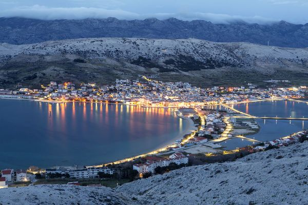 Jigsaw Puzzle-Europe, Croatia, Dalmatia, Zadar region, Pag island, Pag town at dusk-500 Piece Jigsaw Puzzle made to order