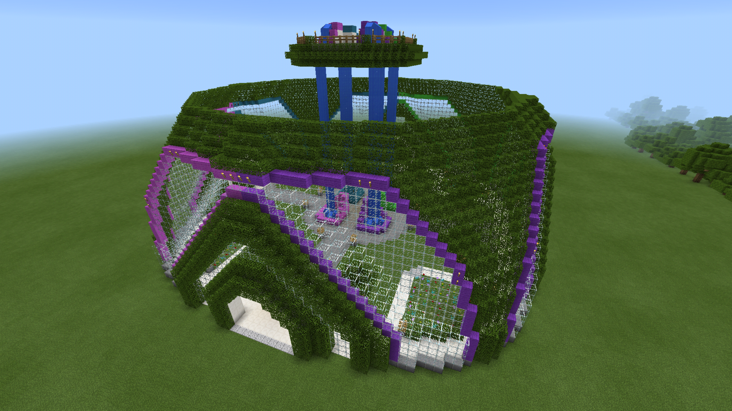 minecraft garden dome waterfall neon glass green house planetarium