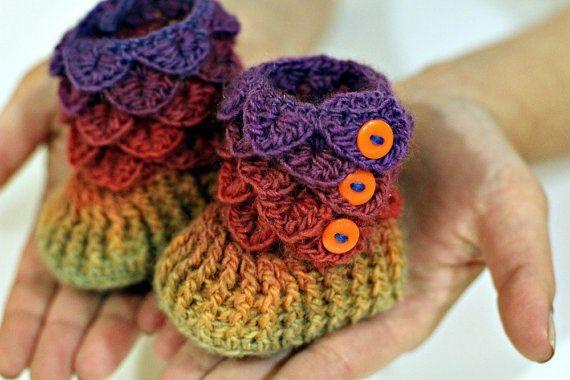 Crocodile Stitch Booties (Baby Sizes) - Crochet Pattern PDF