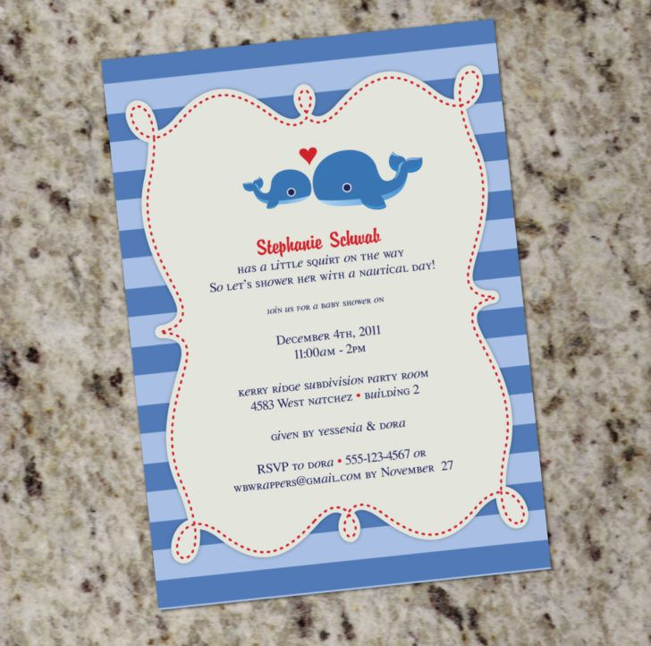 Charming Blue Stripe Whale Baby Shower Invitation