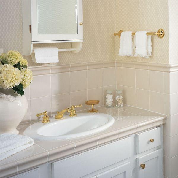 Details photo features chair rail in almond 2 bee yong for Bathroom chair rail ideas