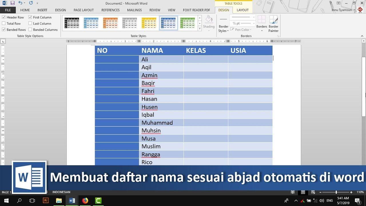 Cara membuat daftar nama sesuai abjad otomatis di word