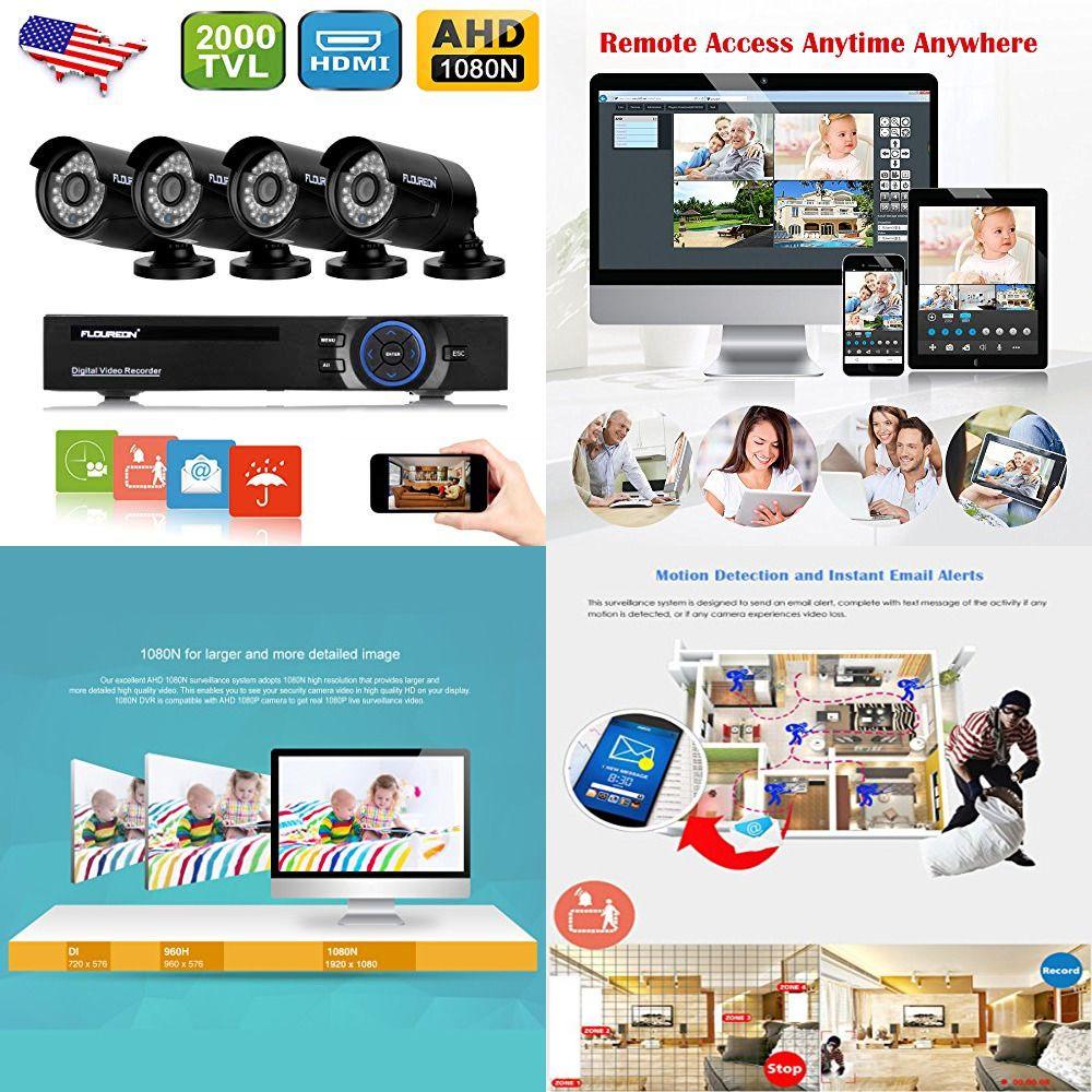 Floureon House Camera 8ch 1080n Ahd Cctv Dvr Security System 4 X 2000tvl Ebay Link