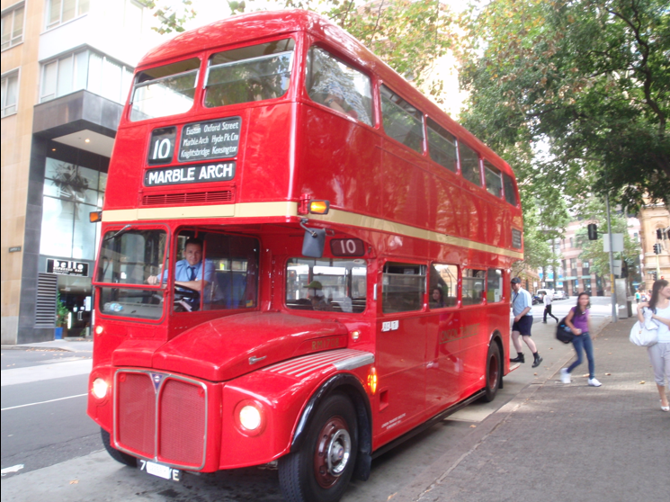 Double decker bus transfers from Hyde Park Barracks (Sydney City) to Vaucluse House via vintage red bus