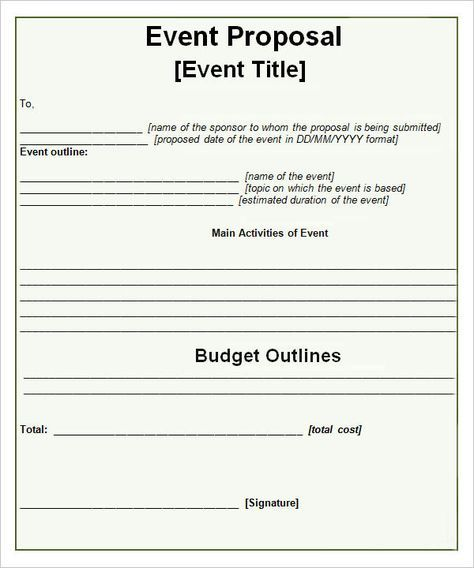 Event-Propsal-Template Event planning business Pinterest - event planning proposal