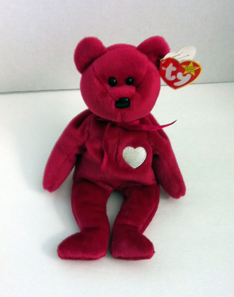b76a5a49e7c Valentina Ty Beanie Baby Bear Retired Red Pink with Heart February ...
