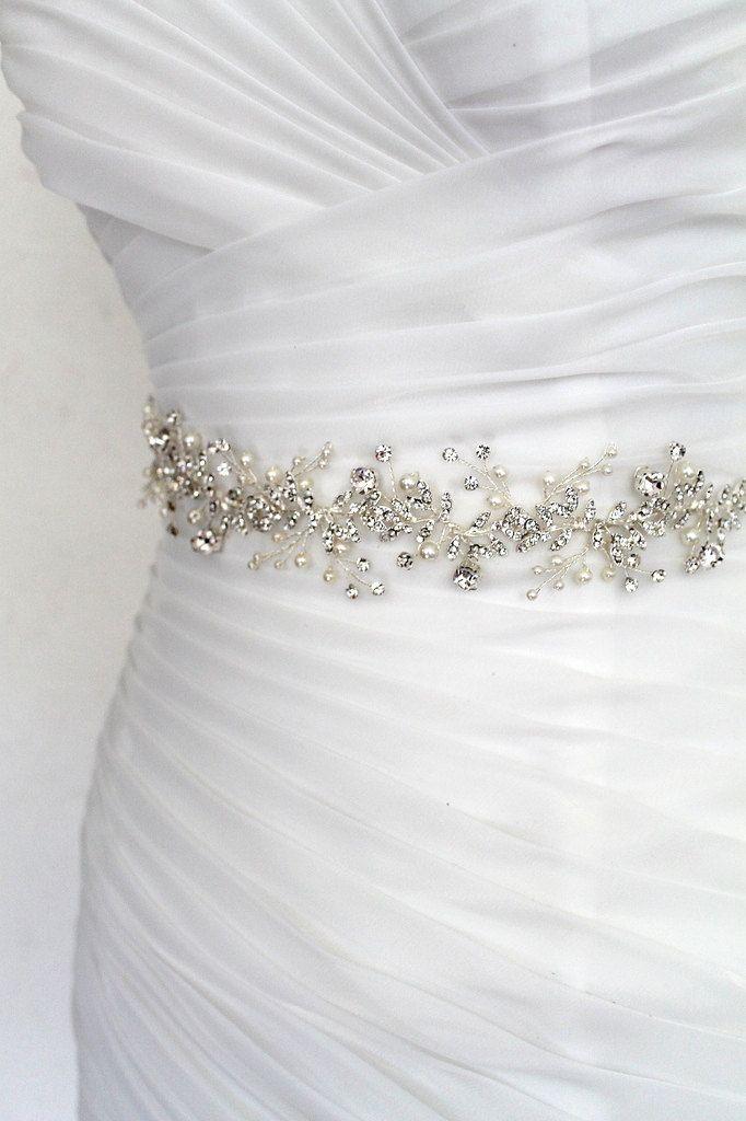 Silver Leaf Vine Bridal Sash Boho Bohemian Crystal Pearl Wedding