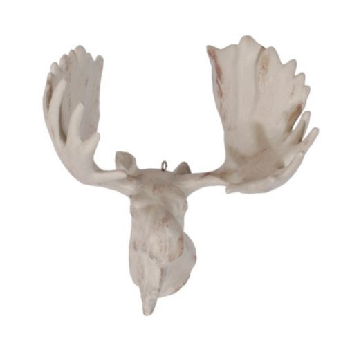Hanging Aged White Moose Head Christmas Decoration Sun Room
