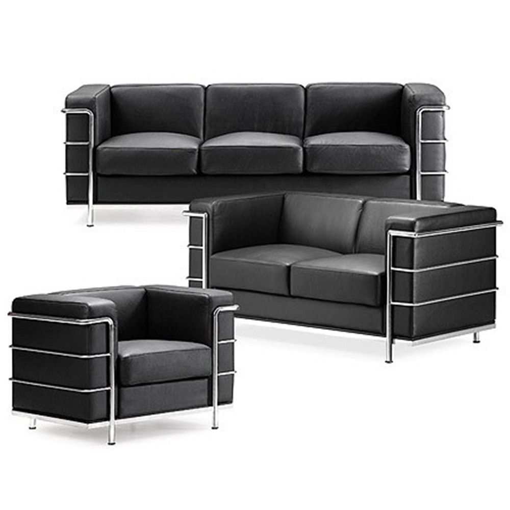 Grand Comfort Sofa Inspired By Le Corbusier In Black Leather Famous Furniture Designers