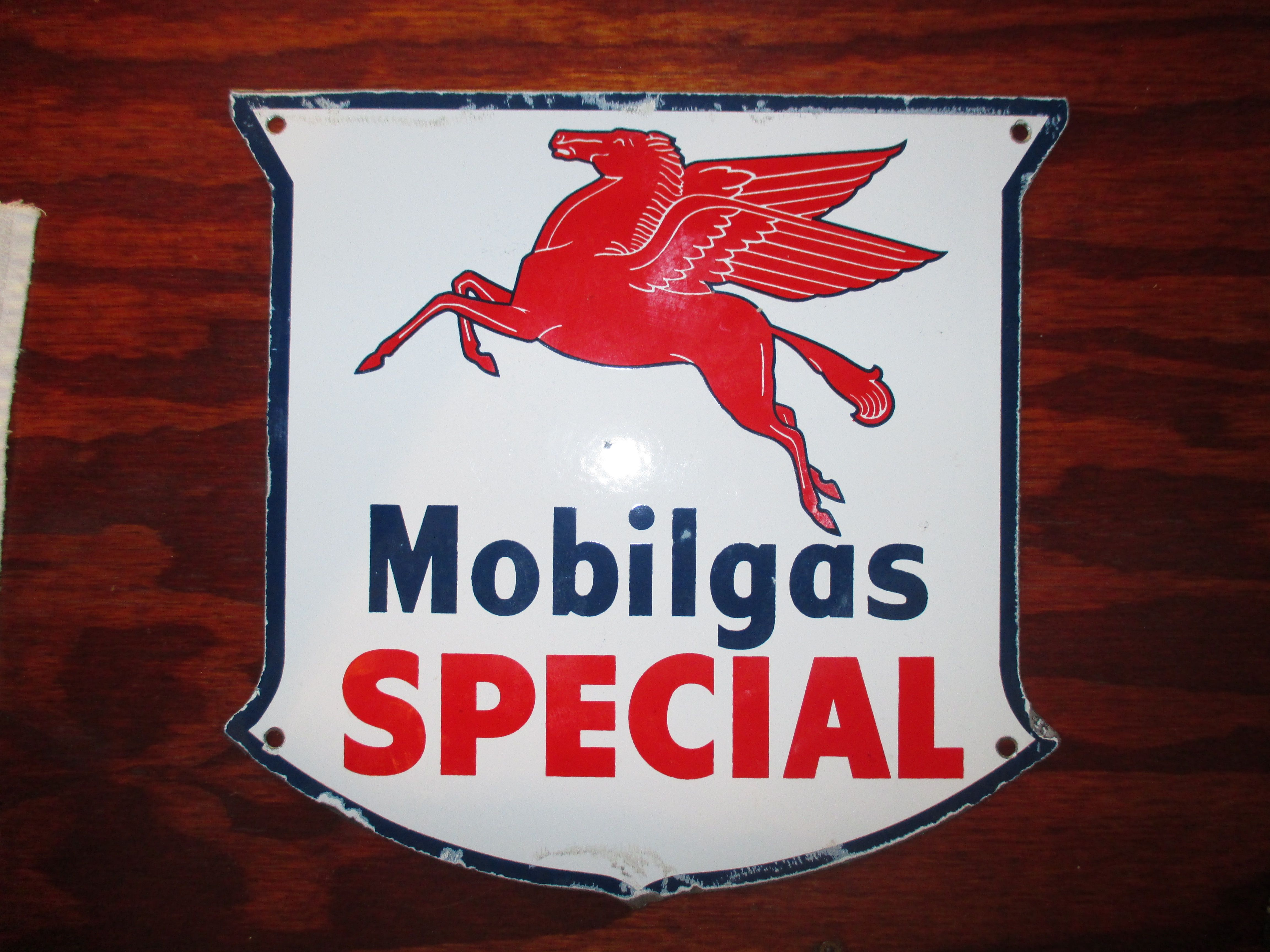 Mobilegas Special Single Sided Porcelain Pump Plate Sign Circa 1950 S Porcelain Signs Painted Signs Vintage Signs